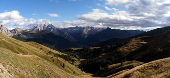 Scenic panoramic view in the dolomites from sella road pass to marmolada Stock Image