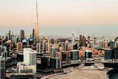 Scenic panoramic view of downtown Dubai, UAE, at sunset Stock Images