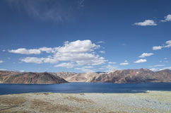 Scenic panoramic view on high mountain lake Royalty Free Stock Photography
