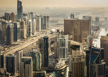 Scenic panoramic view of modern city architecture. Aerial skyline of Dubai Marina Royalty Free Stock Photo
