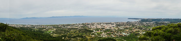 Scenic panoramic view from Mount Filerimos on Rodos island Stock Images