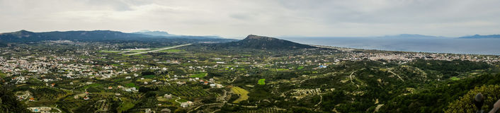 Scenic panoramic view from Mount Filerimos on Rodos island Royalty Free Stock Photo