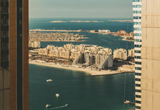 Scenic panoramic view of Palm Jumeirah in Dubai, Stock Images