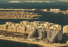 Scenic panoramic view of Palm Jumeirah in Dubai, UAE. Aerial view. Stock Photography