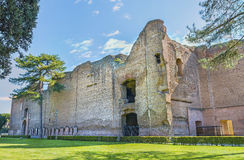 Scenic panoramic view on ruins the ancient roman Baths of Caracalla ( Thermae Antoninianae ) at sunny day Stock Images