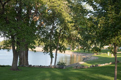 Scenic Park On Lake Pepin. A beautiful park along the shores of Lake Pepin in Lake City, MN Stock Photo