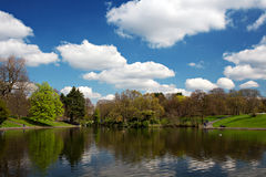 Scenic park lake in spring Stock Image