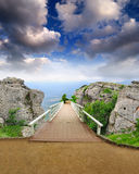 Scenic park wooden bridge Stock Images