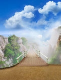Scenic park wooden bridge Royalty Free Stock Photos