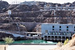Parker Dam, Parker, Arizona, La Paz County, United States. Scenic Parker Dam power plant in the desert located in Parker, Arizona, La Paz County in the United Royalty Free Stock Photos