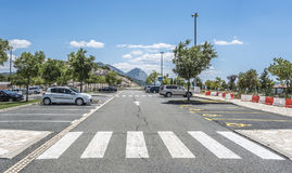 Scenic parking with a pedestrian crossing and a recreation area for travelers. MAKARSKA, CROATIA - JULY 16, 2017: Scenic parking with a pedestrian crossing and royalty free stock image