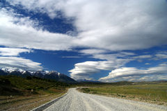 Scenic patagonian road. Scenic road going through southern Patagonia, Argentina Stock Image