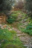 Scenic path in abandoned city of Vatio in inner Mani on Peloponnese in Greece. Image of scenic path in abandoned ghost city of Vatio in inner Mani on Peloponnese royalty free stock photography