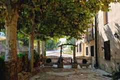 Scenic patio of the small spanish  countryhouse. Near the monastery de Poblet in Spain Stock Photos