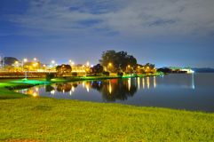 Scenic peaceful night at Lower Seletar Reservoir Stock Photography