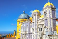 Sintra Pena Palace. Scenic Pena National Palace on top of a hill above the town of Sintra. The Palacio da Pena, in Portuguese, is a National Monument, Unesco Stock Image