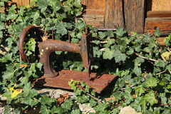 Scenic the photo of the rusty hull of an old manual sewing machine amid the greenery of the old garden and the old wooden walls Stock Photo