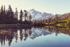 Picture lake. Scenic Picture lake with mount Shuksan reflection in Washington, USA Stock Image