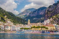Scenic picture-postcard view of the beautiful town of Amalfi at famous Amalfi Coast with Gulf of Salerno, Sorrento, Italy stock photography