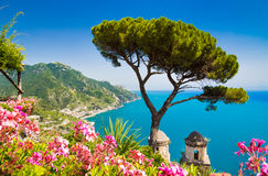 Scenic picture-postcard view of famous Amalfi Coast, Campania, Italy Royalty Free Stock Photography