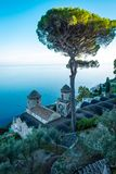 Scenic picture-postcard view of famous Amalfi Coast with Gulf of Salerno from Villa Rufolo gardens in Ravello, Italy royalty free stock photos