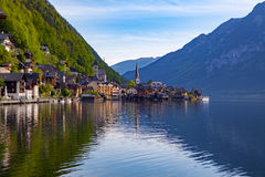 Scenic picture-postcard view of famous Hallstatt mountain villag Royalty Free Stock Image