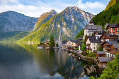 Scenic picture-postcard view of famous Hallstatt mountain villag Stock Image