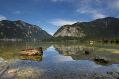 Scenic picture-postcard view of famous Hallstatt mountain village Royalty Free Stock Image