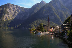 Scenic picture-postcard view of famous Hallstatt mountain village Royalty Free Stock Images