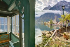 Scenic picture-postcard view of famous Hallstatt mountain village Royalty Free Stock Photography