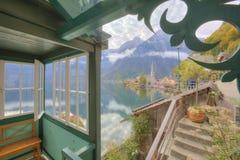 Scenic picture-postcard view of famous Hallstatt mountain village Stock Photo