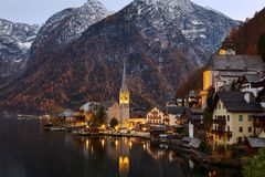 Scenic picture-postcard view of famous historic Hallstatt mountain village, Austria royalty free stock images