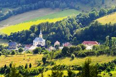 Scenic picturesque countryside landscape. Vast panorama view of Jugow village in the Owl Mountains Gory Sowie, Poland. Rural scenery aerial view stock photography