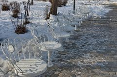 Scenic with place for respite in wintry day, South park, Sofia Royalty Free Stock Photo