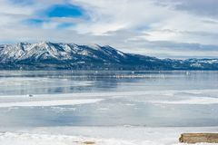 Scenic point of view at the beach of South Lake Tahoe, California Stock Image