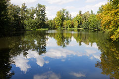 The scenic pond in the Arkadia park in Poland. The Arkadia park is the known romantic English landscape garden in Poland stock photo