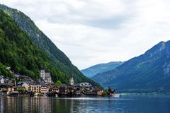 Scenic postcard view of the famous Hallstatt in the Austrian Alps in the summer morning, Salzkammergut district, Austria. View fro. M the south stock photos
