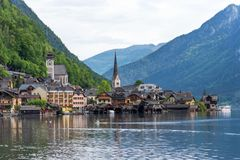 Scenic postcard view of the famous Hallstatt in the Austrian Alps in the summer morning, Salzkammergut district, Austria. View fro. M the south royalty free stock photos