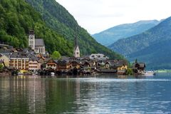 Scenic postcard view of the famous Hallstatt in the Austrian Alps in the summer morning, Salzkammergut district, Austria. View fro. M the south royalty free stock photography