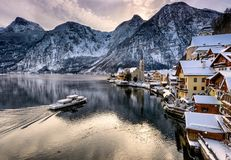 Hallstatt Christmas village in Austria Royalty Free Stock Image