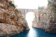 Scenic postcard view of the Furore fiord, beach and sea on Amalfi Coast, Campania, Italy royalty free stock photos