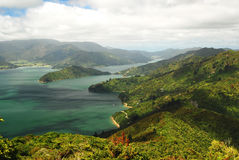 Scenic Queen Charlotte sound from a hill top. Panorama of scenic Queen Charlotte sound bay from a hill top. Marlborough. New Zealand stock photos