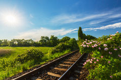 Scenic railroad in remote rural area, on a warm spring day Stock Image
