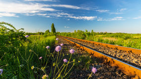 Scenic railroad in remote rural area, on a warm spring day Stock Images