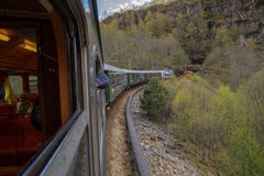 The scenic railway Flamsbana, Flam, Norway with interior view Stock Photography