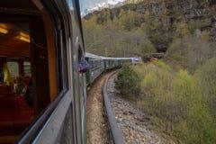 The scenic railway Flamsbana, Flam, Norway with interior view. The scenic railway Flamsbana, Flam, Norway running Myrdal-Flam stock photography