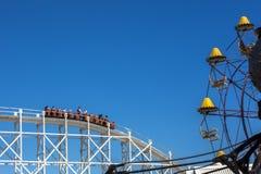 Scenic railway rides at historic amusement park melbourne australia against blue sky. Background Royalty Free Stock Photos