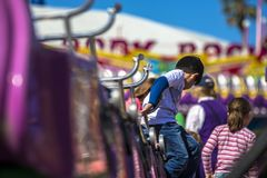 Scenic railway rides at historic amusement park melbourne australia against blue sky. Background Royalty Free Stock Photo