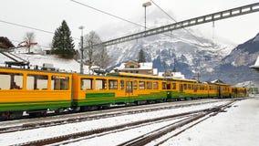Scenic railway in Switzerland. Scenic railway to Kleine Scheidegg mountain pass, a famous ski resort area, to admire the passing scenic valleys and the Glacier stock photos