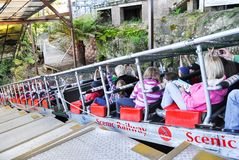The Scenic Railway is thrill of a 52 degree incline 128% incline riding the steepest passenger railway in the world. BLUE MOUNTAINS, AUSTRALIA. – On royalty free stock photos